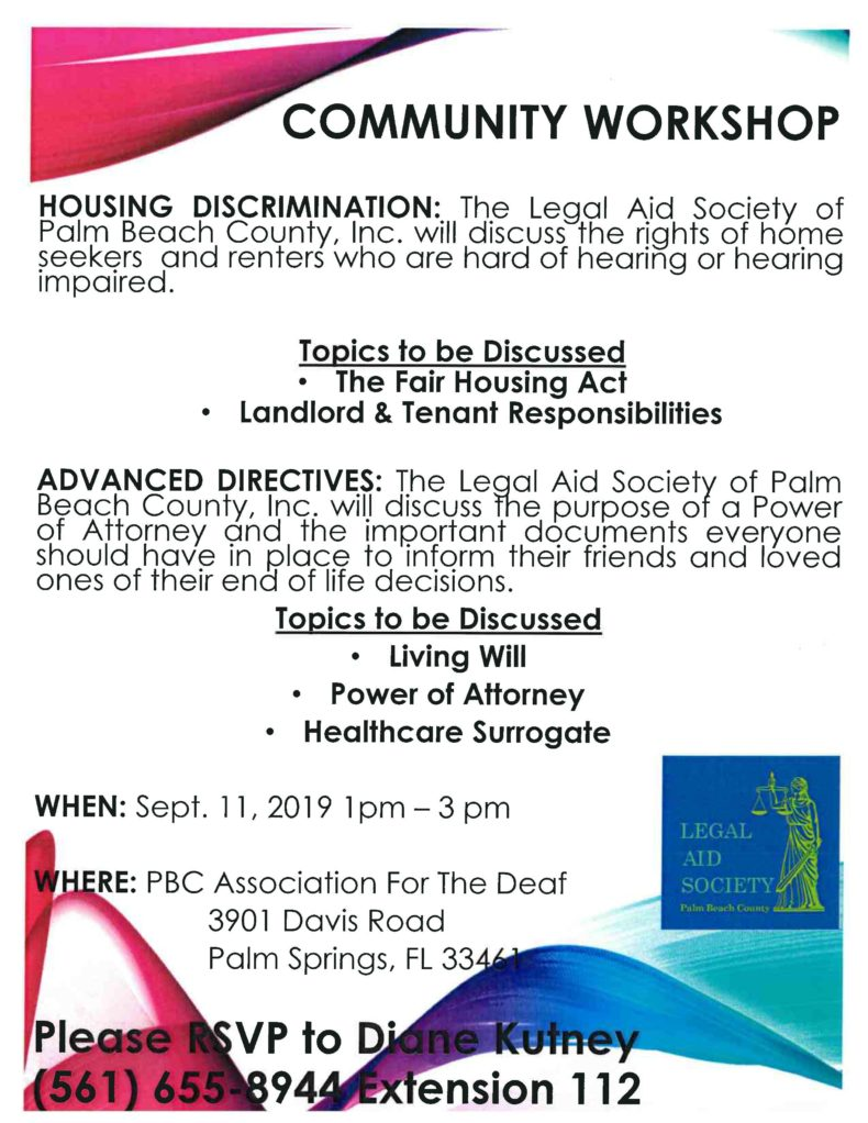 COMMUNITY WORKSHOP for Home Seekers or Renters who are Hard of Hearing or Hearing Impaired.