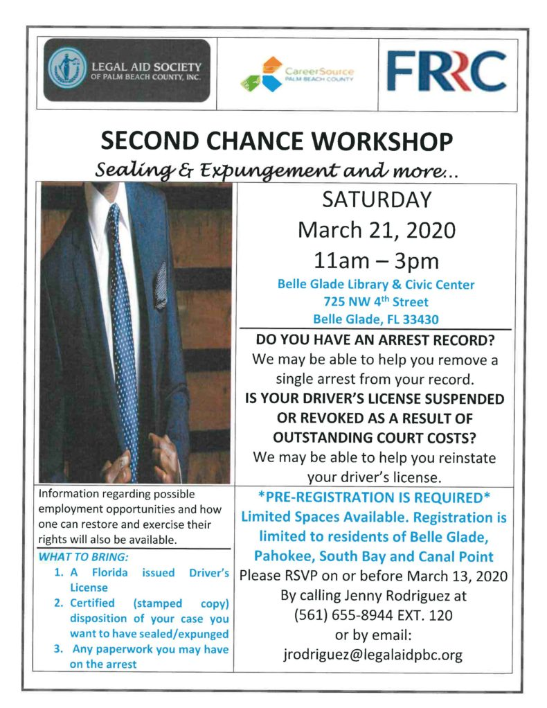 SECOND CHANCE WORKSHOP Sealing & Expungement & More – Saturday, March 21, 2020, 11am – 3pm